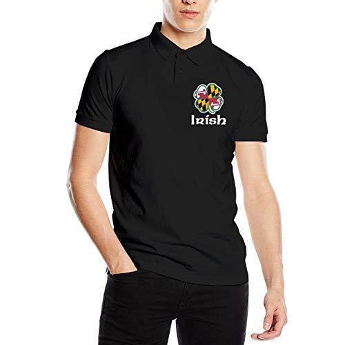 Maryland Flag Shamrock Irish Men's Short Sleeve Polo T-Shirt T-Shirts for Sport Blouse Tops -