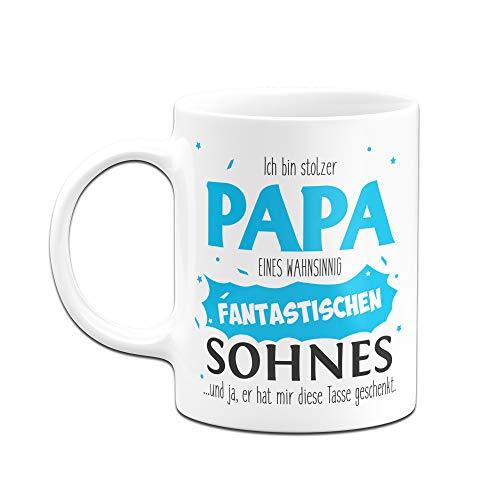 Tassenbrennerei Tasse Papa Sohn - Stolzer Papa - Geschenk für Vater Papa (Weiß) - 2