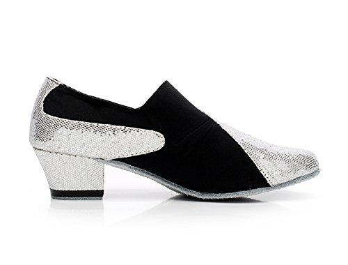 Minitoo QJ708–dérapant en daim moderne Salsa Tango écoles de danse latine chaussures Argent - argent