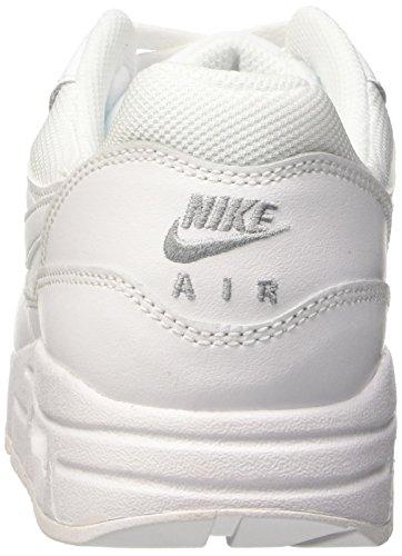 Nike Air Max 1 (Gs), tour de formation mixte enfant Blanc (Blanc/Blanc-Metallic Silver)