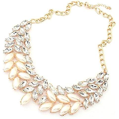 Culater® Signora Di Modo Di Perle Di Cristallo Strass Collana Di Dichiarazione Del Collare Robusta
