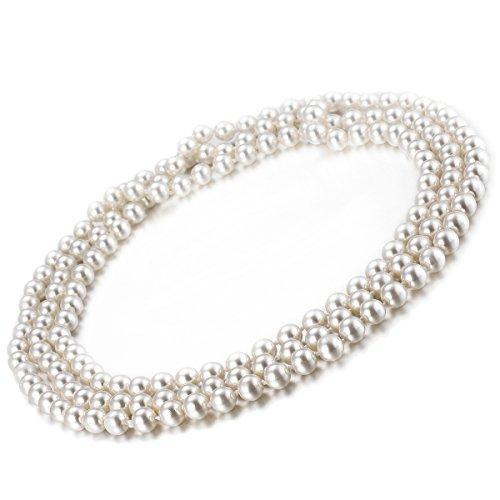 Fantaisie Collier Femme avec Perles Blanches pour les Années 1920 Charleston Fêtes Thématiques Longueur 1.5m Sautoir de Perles artificielles Idée cadeau femme pour le déguisement par VIKI LYNN
