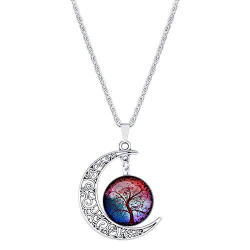 Contever® Charms Anhänger Halskette Crescent Moon mit Lebensbaum Glasanhänger (Fantasy-Serie) (Red-t-shirt Herz Seele)