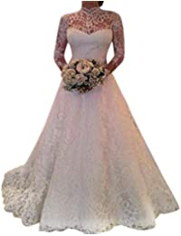Riou Damen Brautkleider Hochzeitskleider Lang Weiß Sexy V-Ausschnitt Rückenfrei Spitzenkleid für Brautjungfer Hochzeit Abend Party Standesam Kleider
