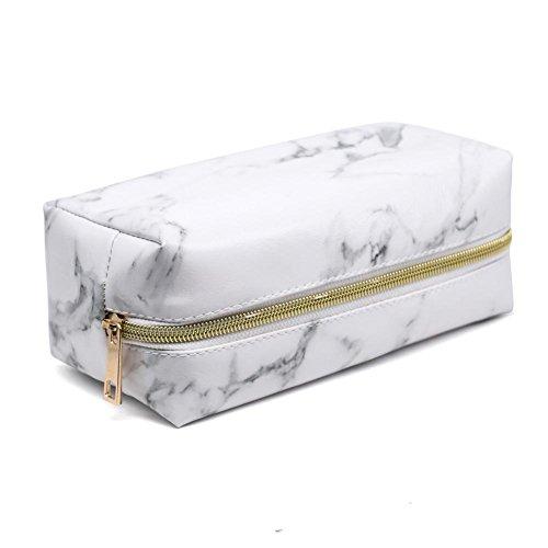 AITOCO Kosmetische Make-up Tasche mit Marmor Muster, Mode Frauen Kulturbeutel Speicherorganisator Tragbare Schönheit Bürsten Tasche für Teenager-Mädchen Frauen Dame - Wasserdicht Anorak