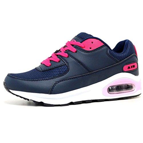 Damen Laufschuhe Air Tech Stoßdämpfend Fitness Gym Sportschuhe Größe Eu 37 - 8 Navy / Hot Pink