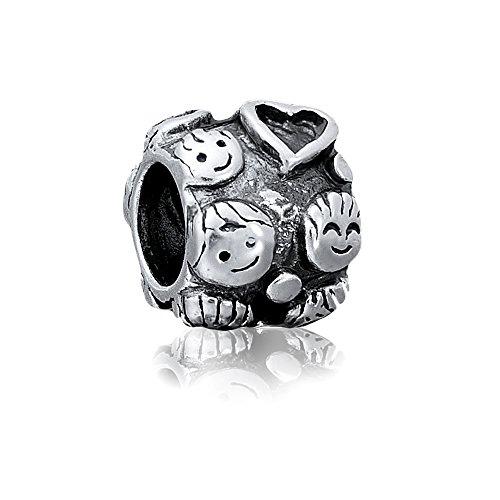 terling Silber Bead Charm * Family * Familie - Element Kugel für European Beads Modul Armband + Organzasäckchen ()