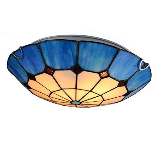 Preisvergleich Produktbild Xiao Yun Retro Tiffany Anhänger Deckenleuchte Runde Deckenleuchte Vintage Kreative Innenbeleuchtung Schöne Dekoration Beleuchtung Schlafzimmer Wohnzimmer Lampe Glas Lampenschirm 3 * E27