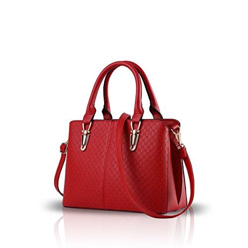 NICOLE&DORIS Modetrend weibliche Handtasche große Tasche Retro-Handtaschen lässig Umhängetasche Kuriertasche für Frauen(Claret)