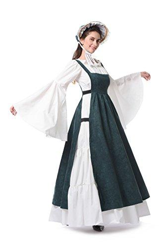 Damen Renaissance Mittelalterlichen Kleid Maxi Halloween Party Kostüm (M, GC312A-NI) (Victorian Lady Kostüme Perücke)