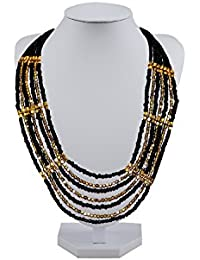 MMG Overseas / Seedbead Black & Gold Multi Row Necklace , Price Below 500