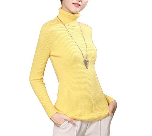 ragenpullover Winter Lange Ärmel Wolle Casual Strick Swaeter Pullover Strickpullover (L, Gelb) (Gelb-wolle Pullover)