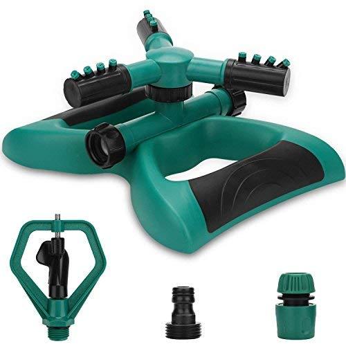 Aspersor de jardín, Aspersor automático de Agua Giratorio de 360 Grados Aspersor de Agua de 3 Brazos...