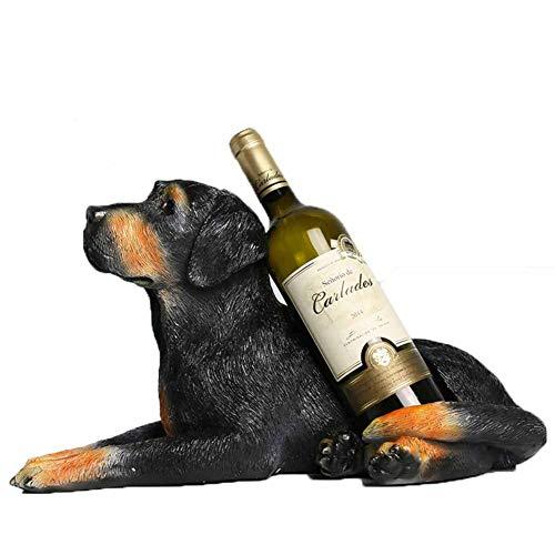 LJSHU Weinflaschenhalter Dog Sculpture Dekoration und Küche Dekoration Tisch Weinregal,Black