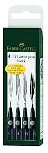 Faber-Castell 167100 Feutre PITT artist pen noir étui de 4 S/F/M/B