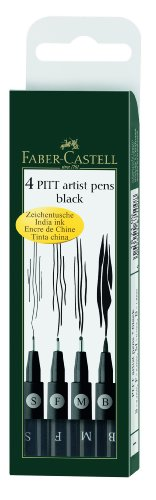 Faber Castell Pitt Artist Pen Wallet Black Pack of 4