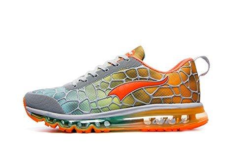 Onemix Herren Air Laufschuhe Sportschuhe mit Luftpolster Turnschuhe Leichte Schuhe Grau orange Größe 43 EU