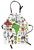 Moderne Schürze, brasilianische Symbole Rio Carnival Samba Tänzerin Flagge Christus der Erlöser Statue Print, Unisex-Küche Latzschürze mit verstellbarem Hals zum Kochen Backen Gartenarbeit, Multicolor