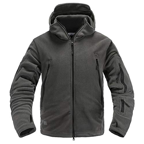 Memoryee Antivento Giacca in Pile da Uomo Outdoor Militare Caldo Cappotto per Lo Sport, Il Lavoro e Il Tempo Libero/Grigio/M
