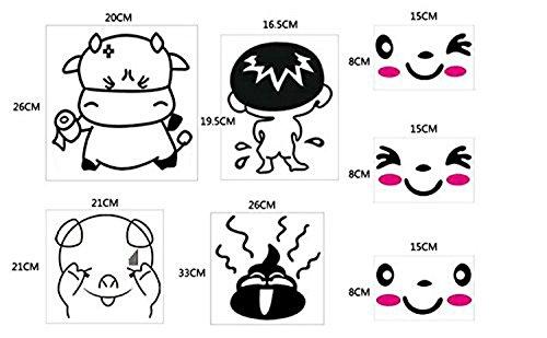 Asiento de inodoro pegatinas Funny Smiley de caca y vaca Cute Pig Kid vinilo arte mural de baño Decor por gérmenes dibujo arte