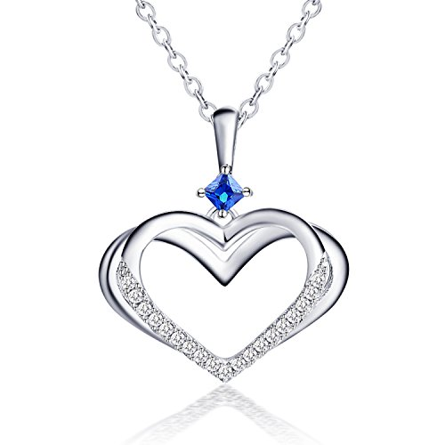 AneWish Jewellery Necklace for Women Pendant Necklace Blue Crystals Love Heart with Meteor 7OxRMJ