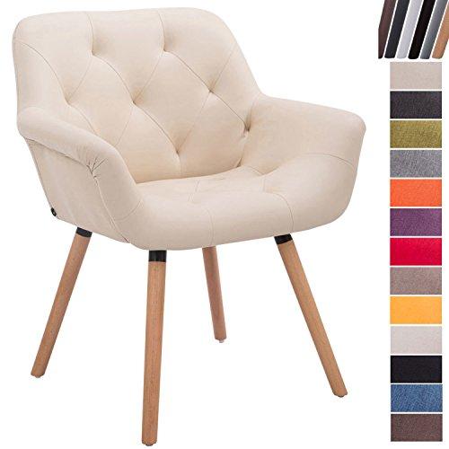 Clp sedia attesa cassidy in tessuto e legno | poltroncina imbottita conferenze, con braccioli, alt. seduta 45 cm i portata max 150kg crema base legno naturale