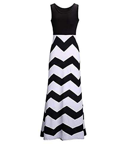U-shot Women's Stripe Sleeveless Scoop Neck Tank Casual Contrast Color Long Maxi Dresses (S / UK 08-10, Black & White)
