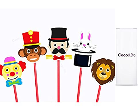 10 x Coco&Bo - Marvellous Circus Cupcake Toppers / Picks - Roll Up! Roll Up! Big Top Travelling Circus / Carnival Theme Party Decorations / Accessories - ideal for ice creams or