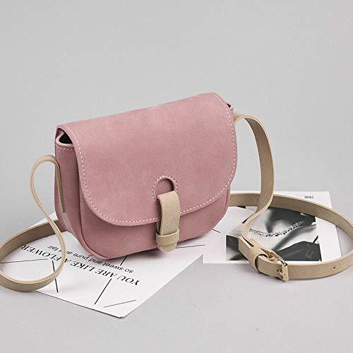 YZJLQML Lady bagsFemale Diagonale Paket_2019 Neue matt kleine Tasche weibliche Diagonale Kreuz Tasche Retro Sen Kollisionsfarbe Halbkreis @pink Diagonal Matt