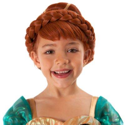 Anna-Kostüm-Perücke, eingefroren mit grünen Bändern und Haar-Zusatz.