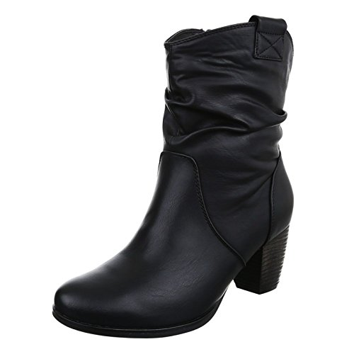 Damen Stiefeletten Cowboy Western Stiefel Boots Schlupfstiefel Schuhe 733 (38, Schwarz)