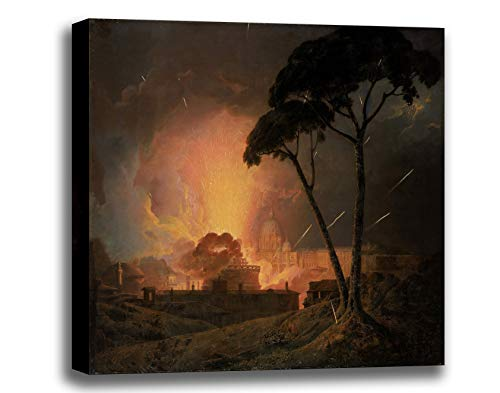 Price comparison product image ODSAN Canvas Print Wall Art - The Annual Girandola At The Castel Sant'angelo, Rome - Joseph Wright - Giclee Printed on Stretched Gallery Wrap - 12x10 inch