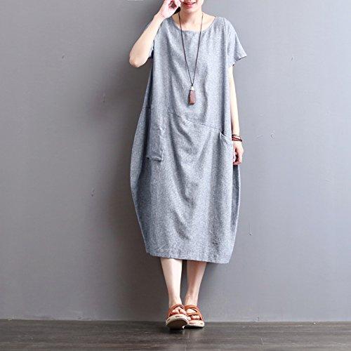 neue retro - sommer, kurzärmeliges kleid, lässig, locker im langen kleid xl - blau