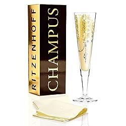 RITZENHOFF Champus Champagnerglas von Ramona Rosenkranz, aus Kristallglas, 200 ml, mit edlen Gold- und Platinanteilen, inkl. Stoffserviette