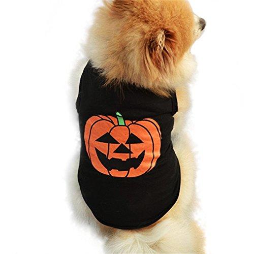 huifengs Hundefigur Puggy Kleidung Halloween Festivals Kürbis Kleiner Hund Katze Pet Cute Schwarz Weste T Shirt (Welpen Hund Kostüme Kit)