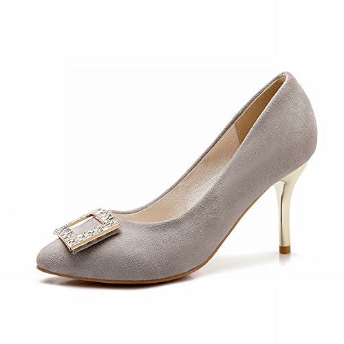 Mee Shoes Damen Stiletto Nubuck mit Strass Pumps Grau