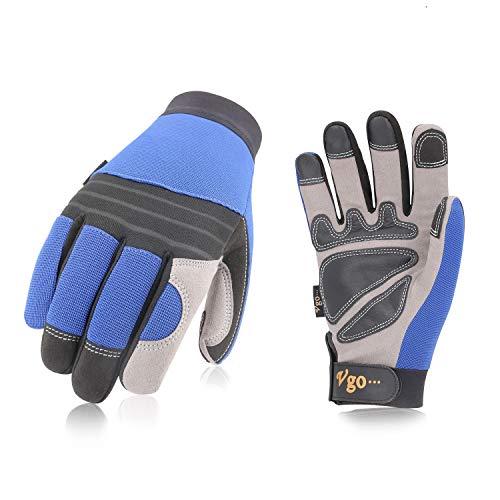 Vgo Glove 3 Paare Arbeitshandschuhe, aus Spandex und sythetischem Leder (Kunstleder) mit extra Palmenschichten, Lager, Handwerk und Mechanikarbeit (Blau, Gr. 8-10, SL7621) (3 Paare, 10/XL)