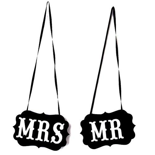 ROSENICE Herr und Frau Foto Requisiten, herr frau stuhl, Foto- Requisiten Hochzeit, Braut und Bräutigam Schilder - 1 paar