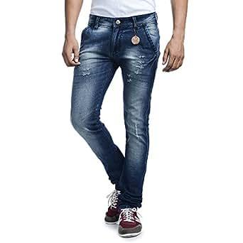Savon Mens Slim Fit Stretch Blue damaged Denim Jeans KU501104-01-32_Blue_32)