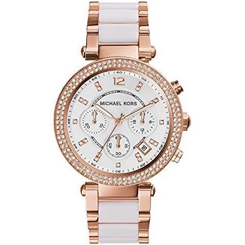 Michael Kors MK5774 - Reloj de cuarzo con correa de acero inoxidable para mujer, color blanco