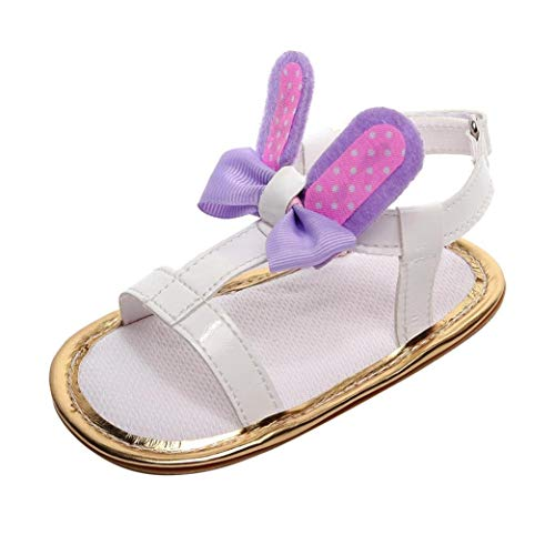 Voberry@ Voberry@ Baby-Girl's Infant Summer Sandals Rabbit Ears Pu Leather Soft Flat Ankle Strap Shoes