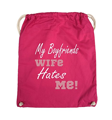 Comedy Bags - My boyfriends wife hates me! - Turnbeutel - 37x46cm - Farbe: Weiss / Rosa-Violet Pink / Rosa-Weiss