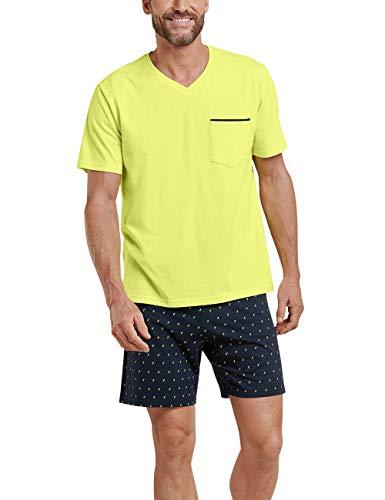 Schiesser Herren Zweiteiliger Schlafanzug Kurz, Gelb (zitrone 601), X-Small (Herstellergröße: 046) (Dessous Lange Gelbe)