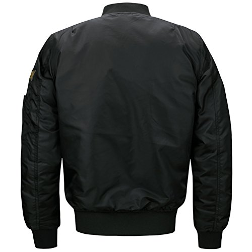 WS668 Herren Gefechtsabzeichen Freizeit Retro Mantel Stehkragen Mens Coats Classic Flug Jacke Schwarz#1