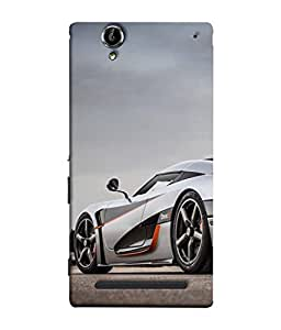 FUSON Designer Back Case Cover for Sony Xperia T2 Ultra :: Sony Xperia T2 Ultra Dual SIM D5322 :: Sony Xperia T2 Ultra XM50h (Sky White Red Clouds Front Lights Tyres Side Mirror)