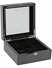watch boxes amazon co uk carbon fibre watch and cufflink collectors box for 4 wrist watches plus 4 pairs