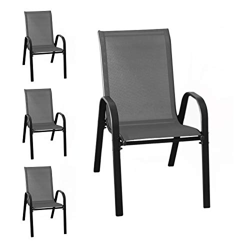 Wohaga® 4er Set Stapelstuhl \'New York\', Textilenbespannung Anthrazit, Stahlgestell pulverbeschichtet Schwarz, stapelbar, Gartenstuhl