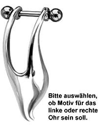 Ohr Piercing für Helix Ohrschmuck für das linke od. rechte Ohr, 925 Silber Motiv, inkl. 316L Edelstahl Barbell - TIP170