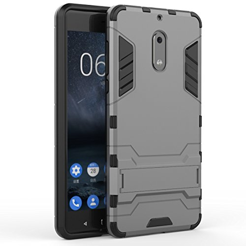 Pour Nokia Lumia 6 Case 2 En 1 double couche TPU / PC Defender Hybrid Armor Shock-Absorption Bumper & Anti-Scratch Back Cover With Stand antichoc ( Color : Red ) Gray