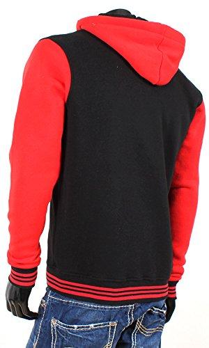 R-NEAL Herren College Jacke Kapuze Hoodie Sweatshirt Schwarz-Rot